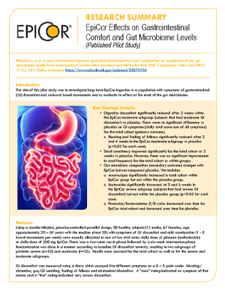 EpiCor Effects on Gastrointestinal Comfort and Gut Microbiome Levels