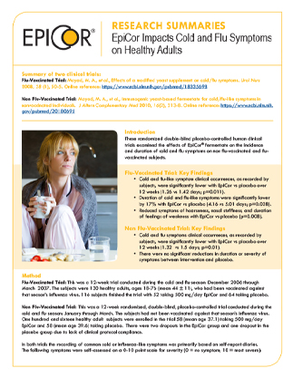 EpiCor Impacts Cold and Flu Symptoms on Healthy Adults